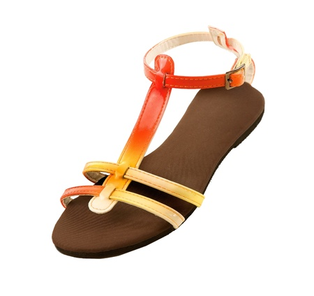 ankle strap: Red to yellow gradient patent leather sandal isolated on white background   Stock Photo