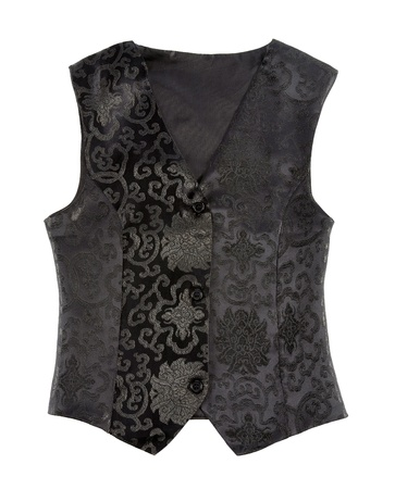 elegancy: Black embroidered vest isolated on white background  Clipping path included