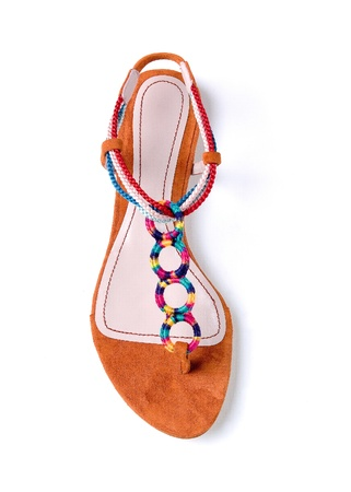 Colorful braided and circular ornaments flip flop suede sandal isolated on white background Stock Photo