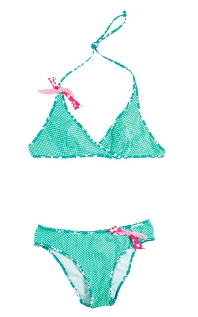 two piece swimsuits: Cross-front polka dots green bikini with pink laces isolated on white background  Clipping path included
