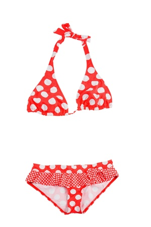 Frilly polka dots red bikini isolated on white background  Clipping path included  photo