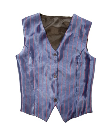 striped vest: Pinstriped blue vest isolated on white background  Clipping path included