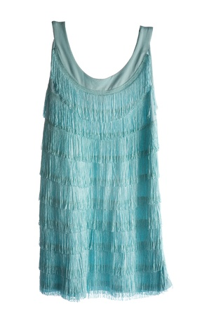 fringes: Turquoise sleeveless fringed flapper dress isolated on white background  Clipping path included