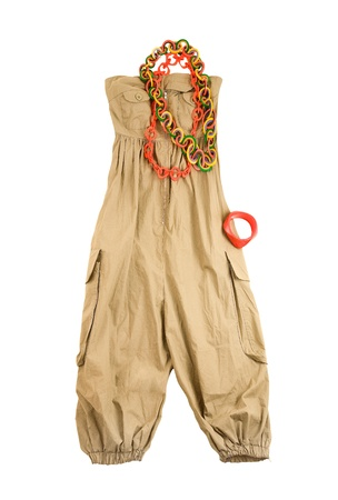 accesories: Baggy jumpsuit ethnic styling fashion composition isolated on white background  Clipping path included  Stock Photo