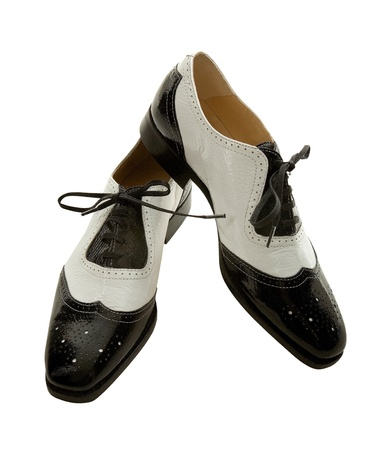bicolor: Oxford brogue black and white female shoes isolated on white background  Clipping path included  Stock Photo
