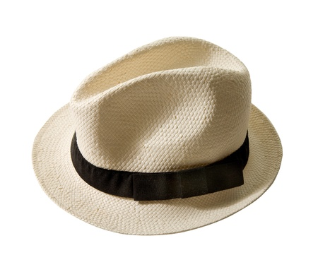 Raffia fedora hat with black band isolated on white background  Clipping path included