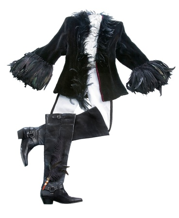 frock coat: Feathery riding styling fashion composition isolated on white background. Stock Photo
