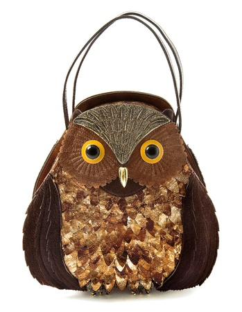 tote: Owl imitation leather tote isolated on white background.