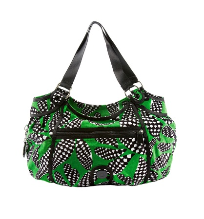 tote: Green and op art zipped tote isolated on white background   Stock Photo