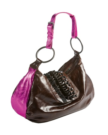 metallized: Metallized patent leather tote with frilly beaded carved crystals embellishment isolated on white background