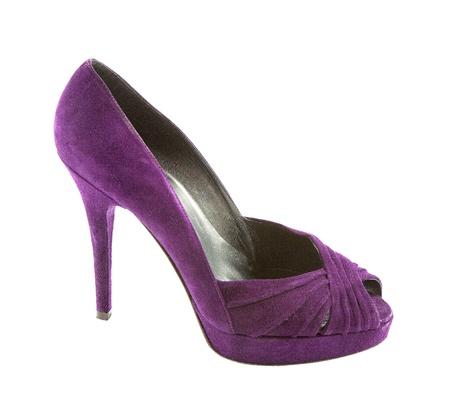 peep toe: Purple suede peep toe stiletto isolated on white background