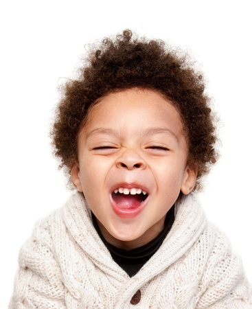 Laughing afro hairstyle child isolated on white background
