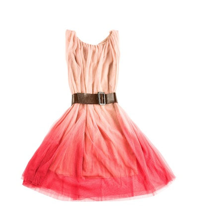 Pink tulle tie dye evase tank dress with wide leather belt isolated on white background  Clipping path included