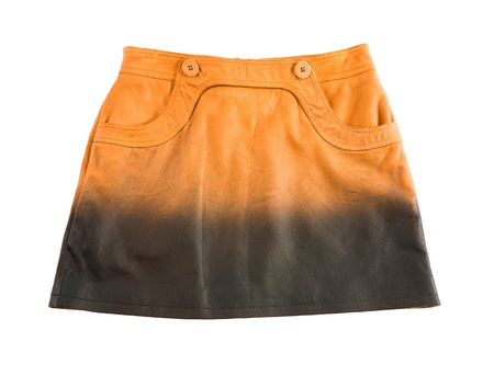 Tie dye orange leather mini skirt isolated on white background  Clipping path included  photo