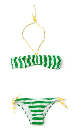 Yellow and green striped bandeau bikini isolated on white background  Stock Photo