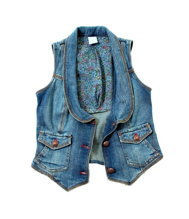 Blue denim vest with flowers lining and bronze ornated buttons isolated on white background  Clipping path included