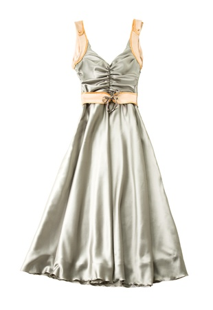 Satin ruched sweetheart bodice belted dress isolated on white background