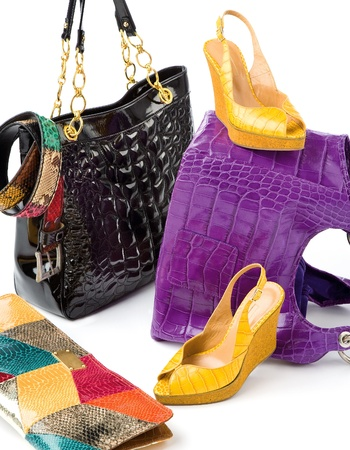 peep toe: Snake leather fashion accesories still life composition on white background