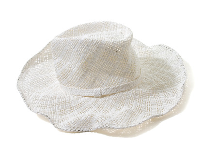 White straw woven floppy hat isolated on white background  Clipping path included