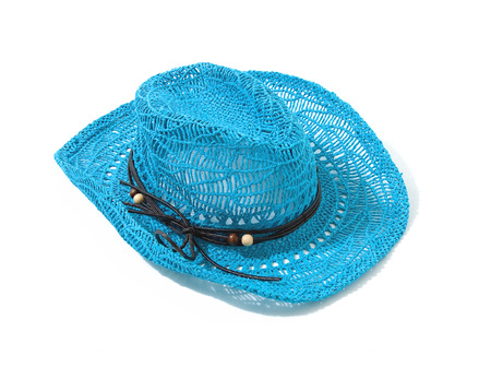 Blue raffia woven fedora hat with leather beaded knotted cord isolted on white background