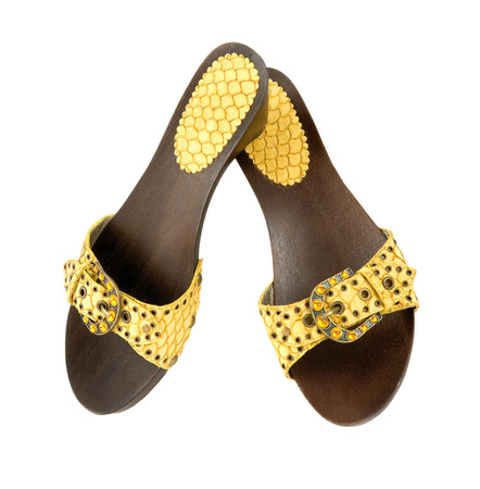 Snake leather wooden wedge yellow sandals on white background