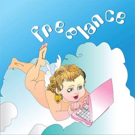 illustration baby angel behind the laptop