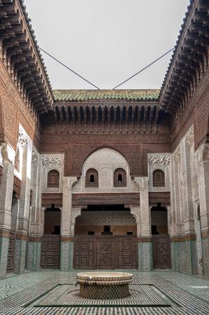 Medersa mosque interior in Meknes, Morocco