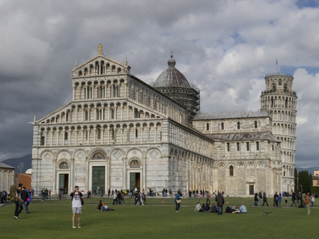 Cathedral (Duomo di Pisa) with the Leaning Tower of Pisa (Torre di Pisa) on Cathedral Square in Pisa, Tuscany, Italy.