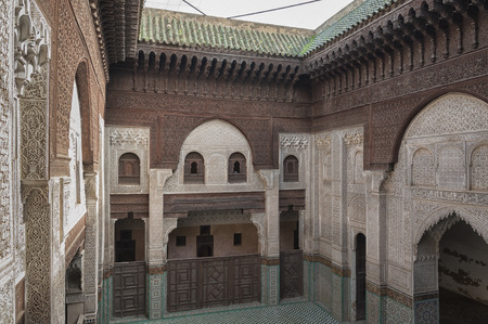 MEKNES, MOROCCO - FEBRUARY 18, 2017: Madras Bou Inania interior in Meknes, Morocco. Madrasa Bou Inania is acknowledged as an excellent example of Marinid architecture in Meknes Editorial