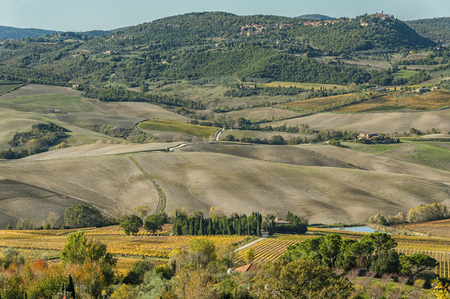 alluvial: Panoramic view of Val di Chiana, an alluvial valley of central Italy, in Tuscany