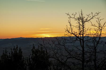 Montichiello - Tuscany  Italy: October 29, 2017: Sunset in Monticchiello, Val d`Orcia Tuscany Italy