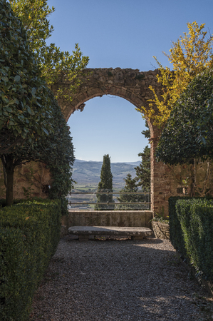 PIENZA - TUSCANY  ITALY, OCTOBER 30, 2016: The beautiful Italian Renaissance garden with the Italian Garden of Piccolomini Palace, one of the first examples of Renaissance architecture in Pienza, Val DOrcia - Tuscany Italy