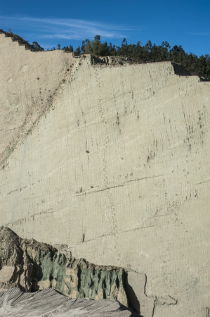 Dinosaur tracks on Cal Orck`s Cliff, Cretaceous Park in Sucre, Bolivia