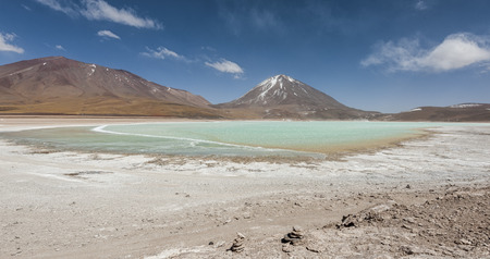 Green Lagoon is a highly concentrated lake located in the Eduardo Avaroa andean Fauna National Park at the foot of the Licancabur volcano, Sur Lipez Province, Bolivia - South America