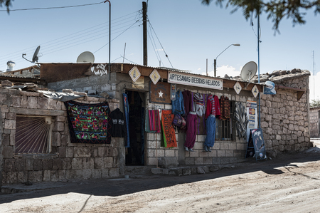 TOCONAO, CHILE - AUGUST 12, 2017: Typical local shop on the street at Toconao village in Atacama Desert, Chile - South America