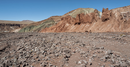 Rainbow Valley (Valle Arcoiris), in the Atacama Desert in Chile. The mineral rich rocks of the Domeyko mountains Stock Photo