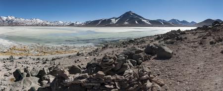 Laguna Blanca (White lagoon) and Licancabur volcano, Bolivia. Beautiful bolivian landscape. Stock Photo