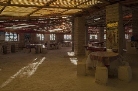 COLCHANI, BOLIVIA - AUGUST 16, 2017: Interior of the Sal Luna Salada hotel made from salt bricks near salt lake Salar de Uyuni, Bolivia - South America Sajtókép