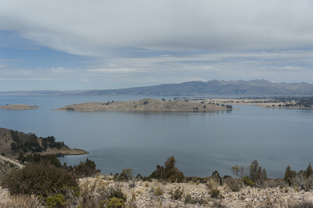 Along the road from San Pedro de Tiquina to Copacabana on the Titicaca lake, the largest highaltitude lake in the world (3808m)? Bolivia, South America Stock Photo