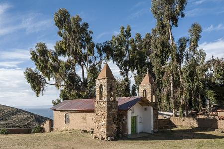 The church at the Yumani community on the Isla Del Sol on Lake Titicaca - Bolivia