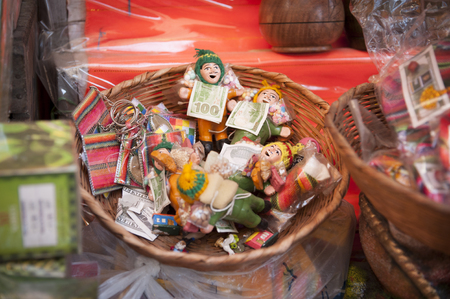 Colorful confectionery and offers in Witches' Market (Mercado de las Brujas) in La Paz, Bolivia - South America