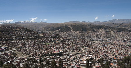 Panoramic aerial view of La Paz from Mi Teleferico cable car transit system - Bolivia