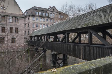 The wooden Hangmans Bridge (Henkersteg) - Nuremberg, Germany