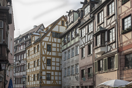 NUREMBERG, GERMANY - MARCH 04, 2018: Half-timbered houses in the picturesque streets of Nuremberg, Bavaria - Germany