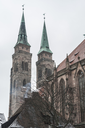 NUREMBERG, GERMANY - MARCH 04, 2018: St. Lorenz Church (St. Lorenz Kirche) in the historical Nuremberg town. Nuremberg, Bavaria, Germany Publikacyjne