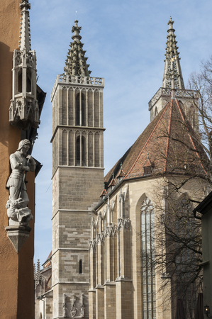 St. James Church (St. Jakob Kirche) in Rothenburg ob der Tauber, one of the most beautiful and romantic villages in Europe, Germany