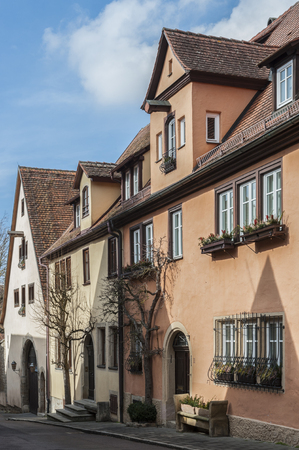 Historic half-timbered houses in the medieval town of Rothenburg ob der Tauber, one of the most beautiful villages in Europe, Germany