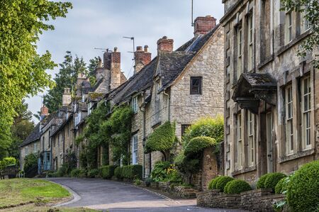 Quaint Cotswold romantic stone cottages on The Hill, in the lovely Burford village, Cotswolds, Oxfordshire
