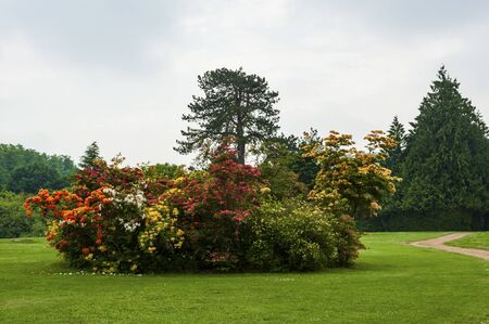 Beautiful garden around Highclere Castle, a Jacobethan style country house, home of the Earl and Countess of Carnarvon. Setting of Downton Abbey - Newbury Hampshire UK