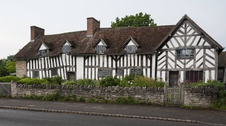 STRATFORD-UPON-AVON, ENGLAND - MAY 27, 2018: Ancient historic home and farm of Mary Arden, mother of William Shakespeare, built around the 15th century in the village of Wilmcote - UK